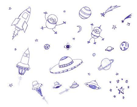Espacio tem�tico icono conjunto. Aislados sobre un fondo blanco.