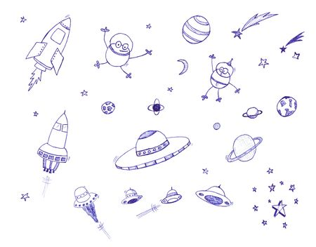 rocket man: Space themed icon set.  Isolated against a white background.