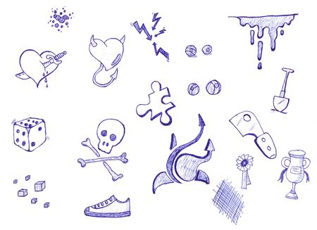 stabbed: A set of illustrations with pen and ink doodles including skulls, dice, shoes, hearts and more.