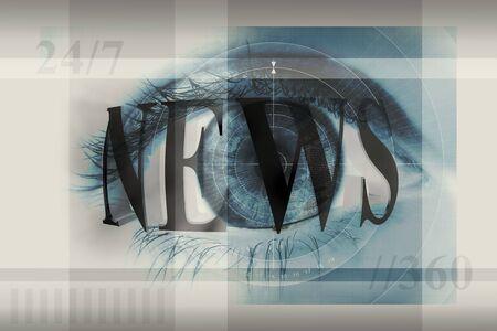 Una ilustraci�n de un ojo humano con la palabra noticias superpuestas sobre el mismo.