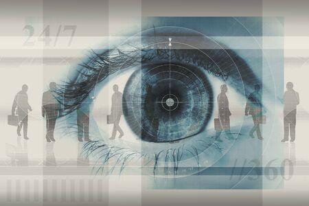 Resumen de negocios montaje concepto de dise�o, incluidas las capas siluetas de hombres de negocios, una gran de cerca de un ojo y el n�mero 24  7 y   360, en blanco, gris y azul.