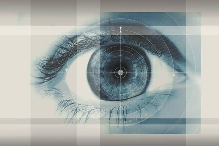 Una ilustraci�n art�stica de cerca de un ojo humano con tonos azules. Foto de archivo