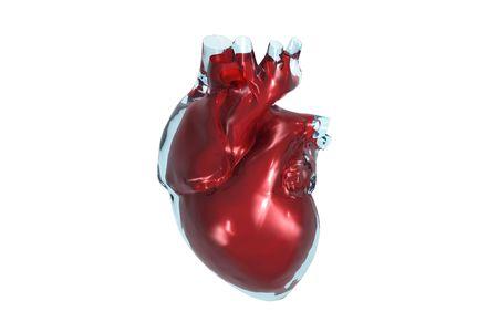 Color 3D vista frontal del coraz�n humano.