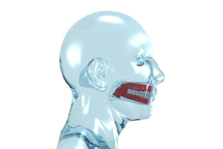 Glass 3D redering of a head of a men with denture. Stock Photo - 5053284