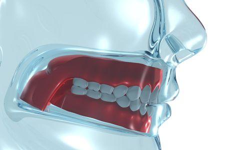 periodontics: 3D Rendering of denture.