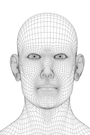 3D redering of a face of a men (wireframe). Stock Photo - 5053256