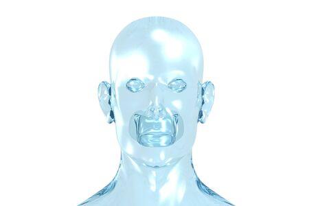 3D redering de una cara de un hombre.