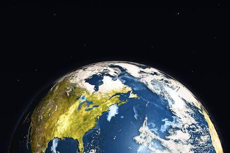 El planeta Tierra en el fondo negro. 3d illustration.