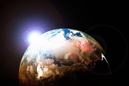Sol naciente sobre el planeta tierra. 3d illustration.