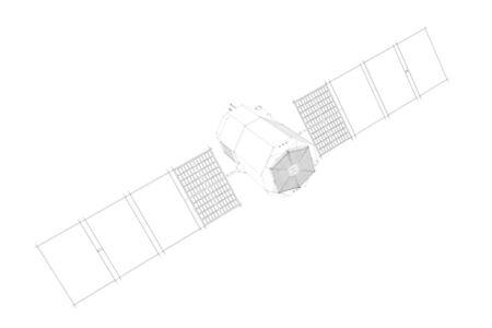 Vista lateral del sat�lite. 3d ilustraci�n sobre fondo blanco. Foto de archivo