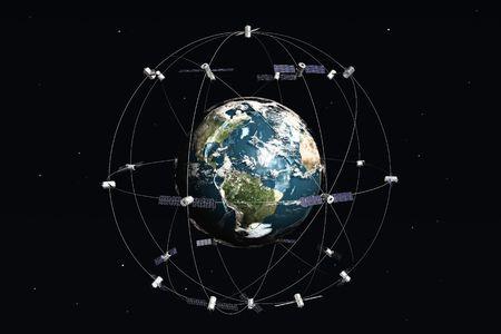 satelite: Por sat�lite y la tierra. 3d illustration.