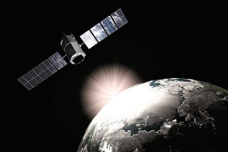 Satelite and earth. 3d illustration. Stock Photo
