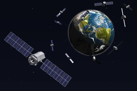 observations: Satelite and earth. 3d illustration. Stock Photo
