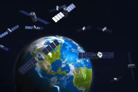 satelite: Por sat�lite y de la tierra. 3d illustration. Foto de archivo