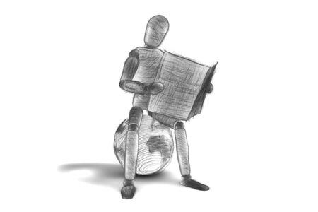 3d human read an newspaper photo