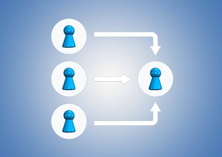 team symbols on blue background