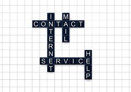 palabras de contacto e internet sobre fondo blanco
