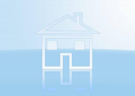 s�mbolo de casa sobre fondo azul