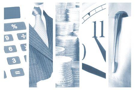 collage con tem�tica de negocio sobre fondo azul  Foto de archivo