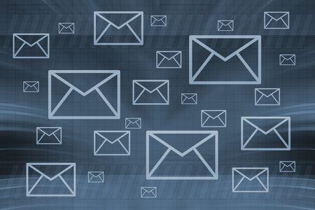 envelopes on blue background