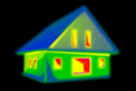 thermography: Thermal imaging of a house in a black area.
