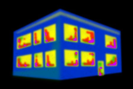 Thermal imaging of a house in a black area. Stock Photo - 6654784