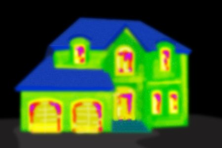 building external: Thermal imaging of a house in a black area.