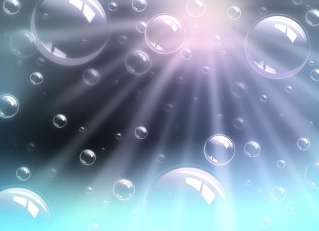 Burbujas con luz, bajo el agua