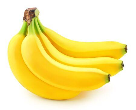 Racimo de plátanos aislado en blanco Foto de archivo