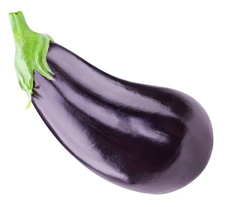 Eggplant Clipping Path. One aubergine eggplant isolated on white.