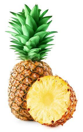 Pineapple isolated on white Clipping Path Imagens