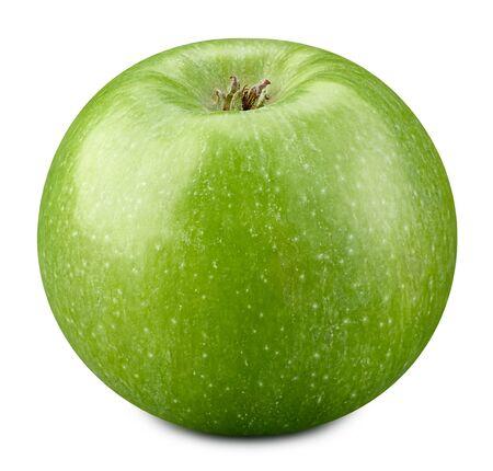 Pommes vertes isolées sur fond blanc.
