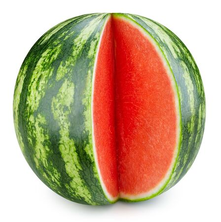 Watermelon berry isolated on white background. One watermelon with clipping path