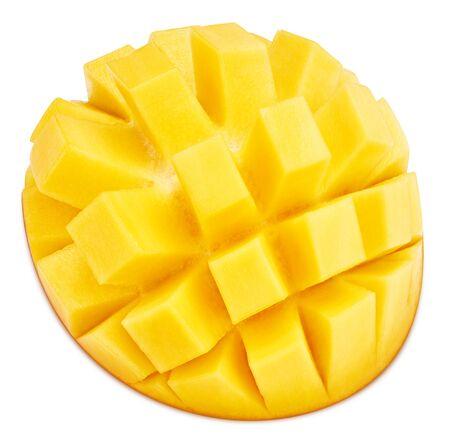 Sliced mango fruit isolated on white background.