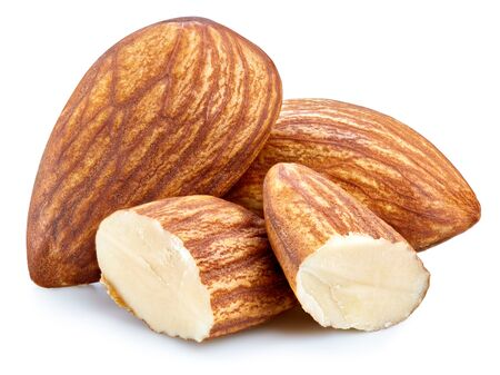 Fresh organic almond. Almond isolated on white background. Almond clipping path. Full depth of field.