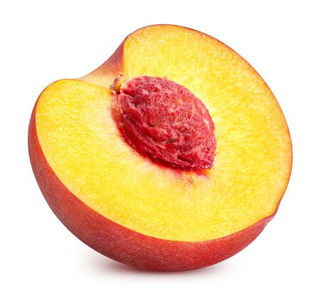 Half of peach isolated on white background.
