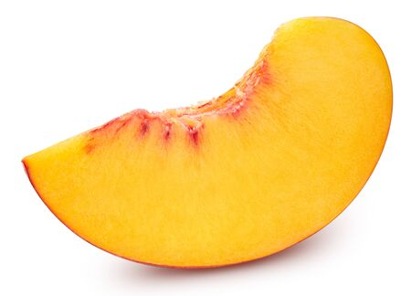 Organic peach isolated on white. Fresh slice peach . Full depth of field.