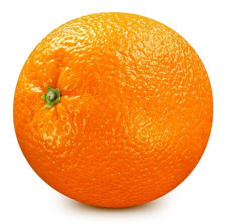 Orangenfrucht. Orange auf weißem Hintergrund. Standard-Bild