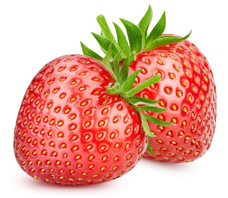 Two strawberries. Fresh organic strawberry isolated on white background. Strawberry macro 版權商用圖片