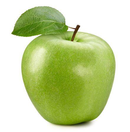Pomme verte fraîche avec feuille isolé sur fond blanc. Banque d'images
