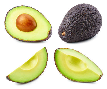 Ripe avocado vegetable isolated on white background. Avocado composition with clipping path. Avocado macro studio photo. Collection green avocado