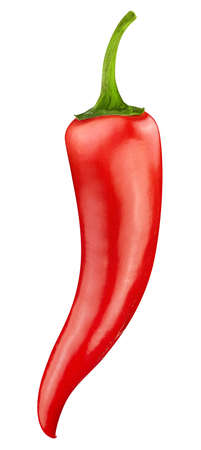 Red hot chili pepper isolated on white background. Cayenne pepper