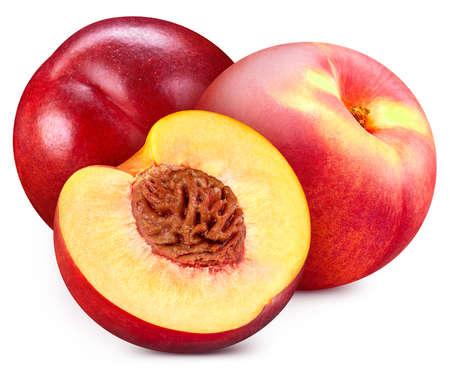 Peach isolated on white. Fresh peach fruit. Ripe Full depth of field