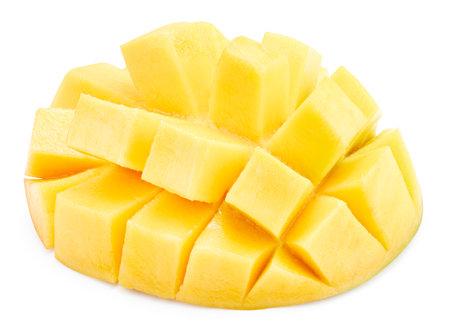 Fresh mango half isolated on white background. Banque d'images