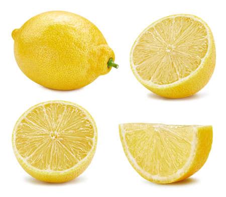 Lemon collection Clipping Path. Lemon isolated on white background. Big set fresh lemon fruits. Banque d'images
