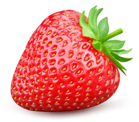 Isolated strawberry. Fresh organic strawberry with leaves isolated clipping path. Strawberry macro studio photo. High End Retouching.