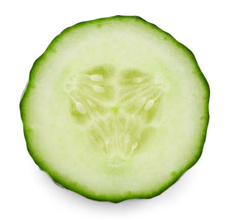 Cucumber slice isolated on white background. Banque d'images