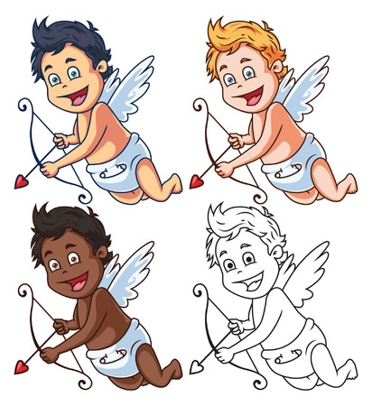 angel wings: Cartoon Vector Cupid Character with Bow and Arrow Illustration