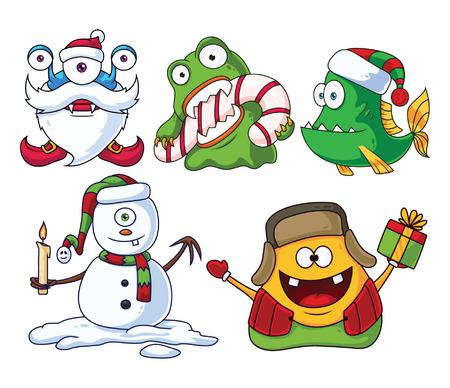 Christmas Cartoon Monsters Set 2 Vector