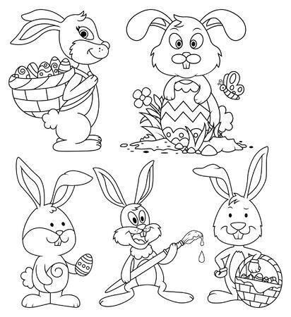Easter Bunny Cartoon Characters Line Art Set Illustration